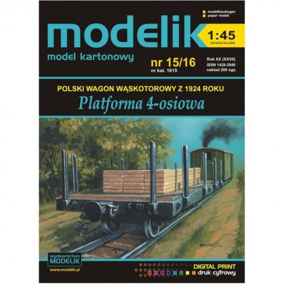 Wagon-platforma wąskotorowa - Modelik 15/16