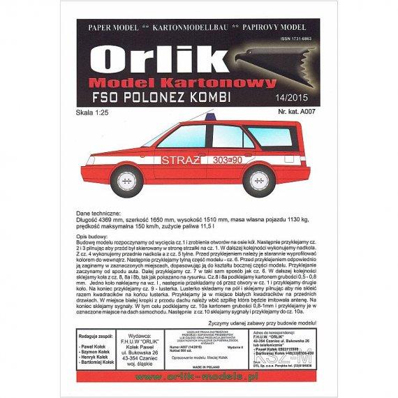 Orlik A007 - FSO Polonez kombi Straż