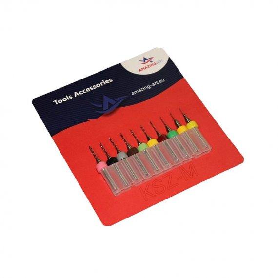 Zestaw 10 mini wierteł modelarskich 0,3 - 1,2mm