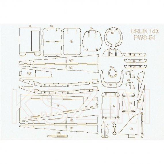 Elementy wycinane laserowo do PWS-54 - Orlik 143