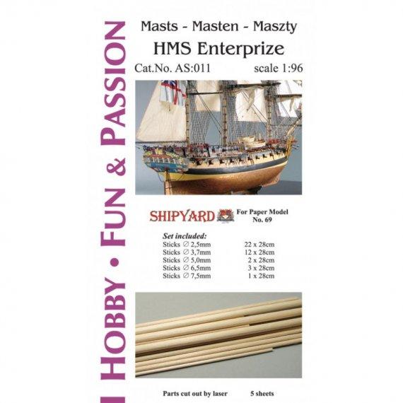 Kijki masztów i rej do HMS Enterprize - Shipyard 69