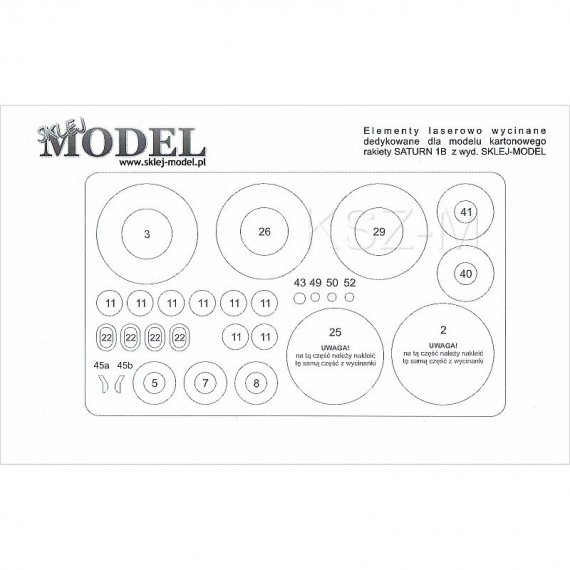 Szkielet, detale do SATURN 1B - Sklej Model 3