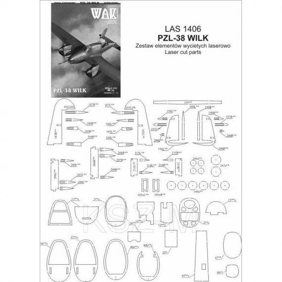 Laserowo wycięte części do PZL-38 Wilk - WAK 6/14