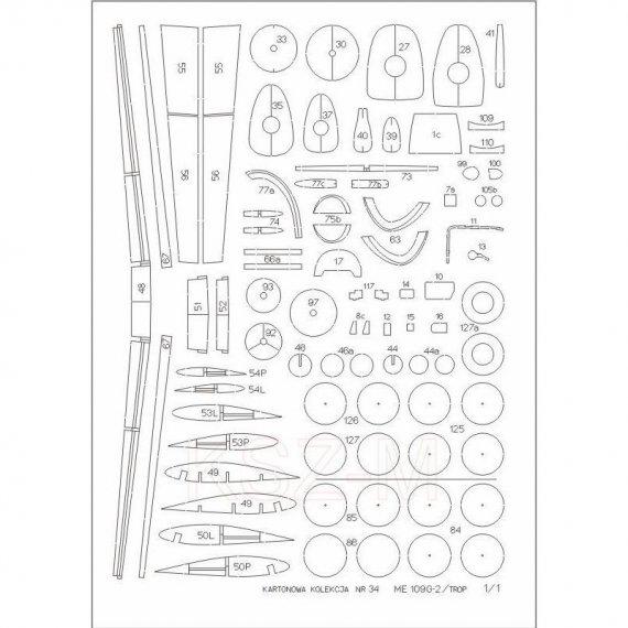 Szkielet, detale do Me-109G-2/trop - Kartonowa Kolekcja 34