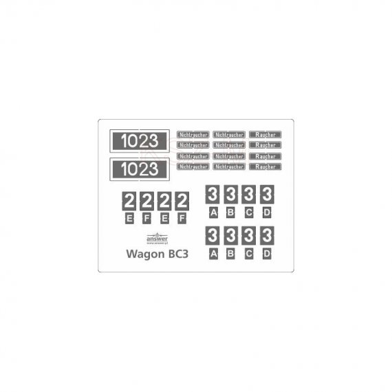 Tabliczki do wagonu BC3 - Angraf 130